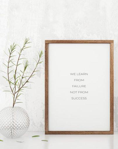 Lámina Failure de las láminas decorativas con mensaje de miluka