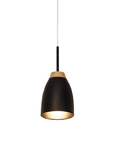 lampara colgante negra y madera