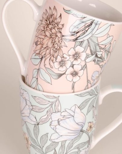 TAZA FLORES ROSA