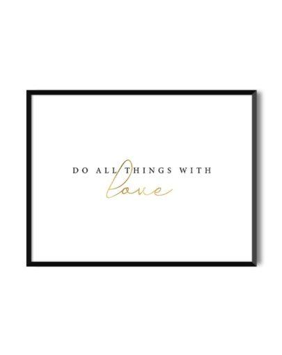 Lámina con mensaje dorado With Love de la colección Gold de Miluka con marco negro