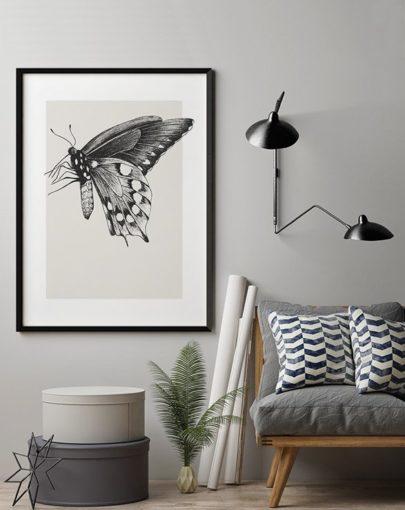 Lámina Butterfly 1 de la colección de láminas decorativas de pared de la colección Butterfly decorando una estancia