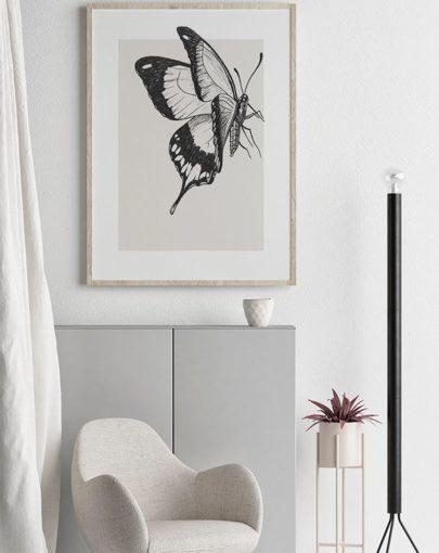 Lámina decorativa Butterfly 2 de la colección de láminas decorativas pared Butterfly decorando una estancia