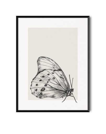 Lámina decorativa Butterfly 3 de la colección de láminas decorativas pared Butterfly con marco negro