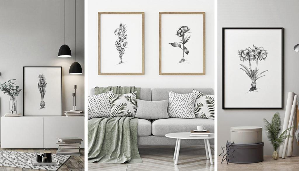 Imagen destacada del artículo sobre la colección de láminas decorativas Botánica - 3 imagenes