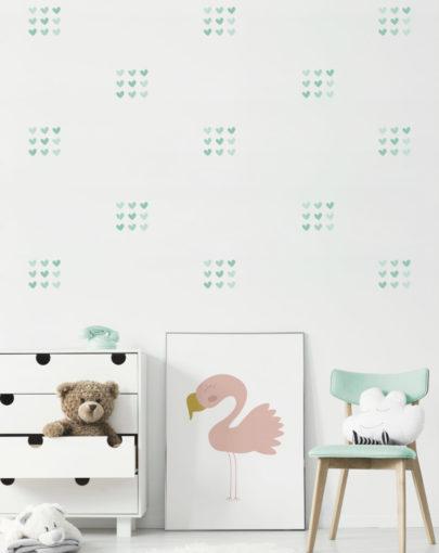 Estancia decorada con los vinilos decorativos infantiles de corazones imperfectos menta