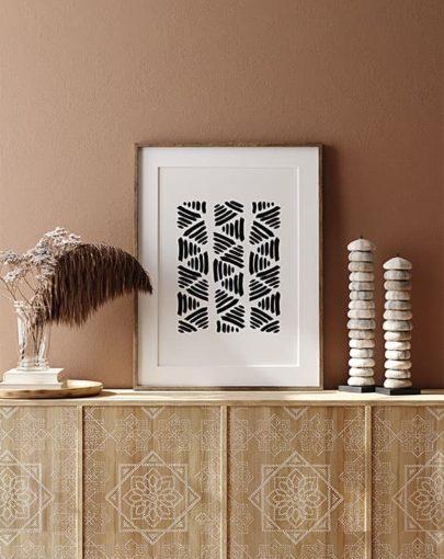 Láminas para enmarcar. Colección de láminas decorativas estilo Boho Chic Etnic. Lámina decorativa Labor con marco en estancia