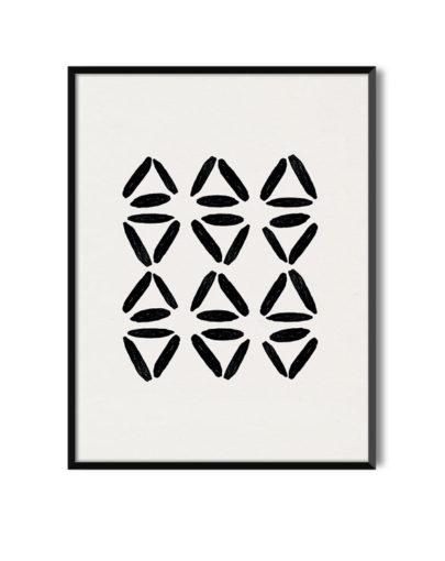 Láminas para enmarcar. Colección de láminas decorativas estilo Boho Chic Etnic. Lámina decorativa Danza con marco negro