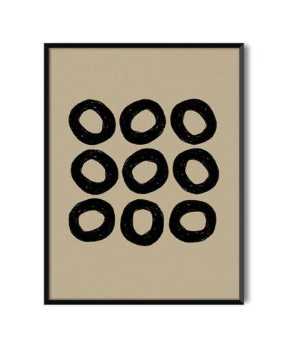 Láminas para enmarcar. Colección de láminas decorativas estilo Boho Chic Etnic. Lámina decorativa Semillas con marco negro