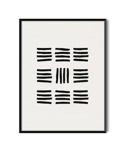 Láminas para enmarcar. Colección de láminas decorativas estilo Boho Chic Etnic. Lámina decorativa Valor con marco negro