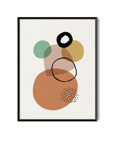 Lamina Baobab 3 con marco negro, es una de las láminas abstractas de Miluka