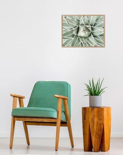 Green Lines 2 es una de las láminas de plantas de la colección Green Lines de Miluka, lámina fotográfica con marco de madera en estancia