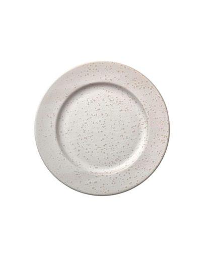 El plato de postre Stone Blanco es uno de los platos estilo nórdico de Miluka, vista cenital