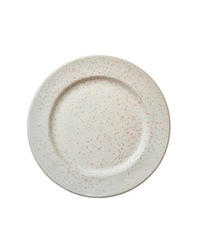 El plato llano Stone Blanco es uno de los platos estilo nórdico de Miluka, vista cenital