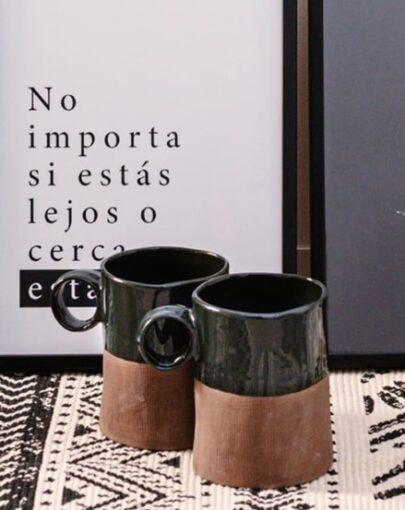 Taza estilo nórdico, tazas Organic Verde en estancia