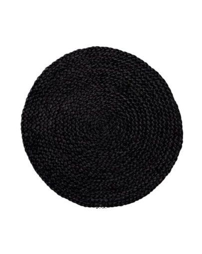 Mantel individual redondo de Yute Negro de Miluka